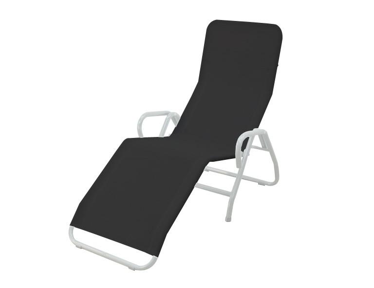 MFG Bäderliege / Saunaliege Pool 3 klappbar Stahl silber/schwarz Bild 1
