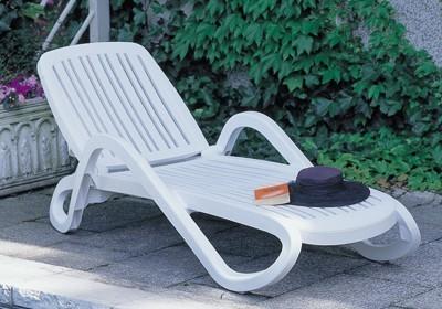 Nardi Gartenliege / Sonnenliege Eden stapelbar Kunststoff bianco Bild 1