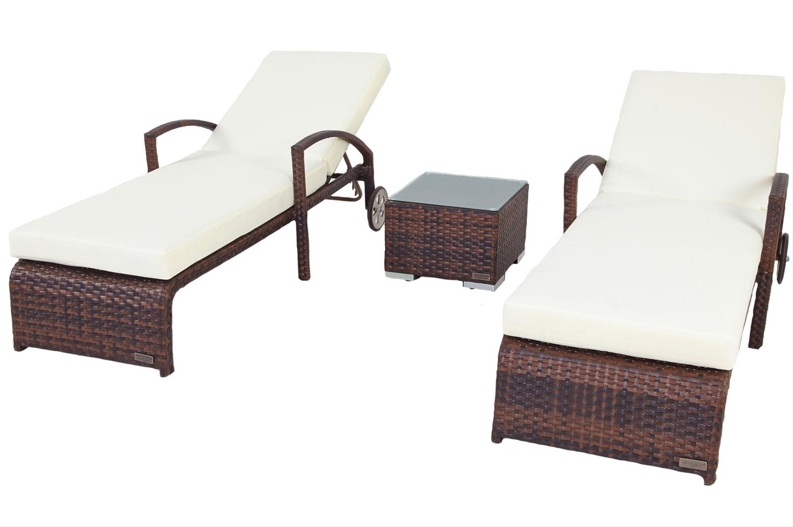 outflexx gartenliege rollliege 2er set polyrattan braun. Black Bedroom Furniture Sets. Home Design Ideas