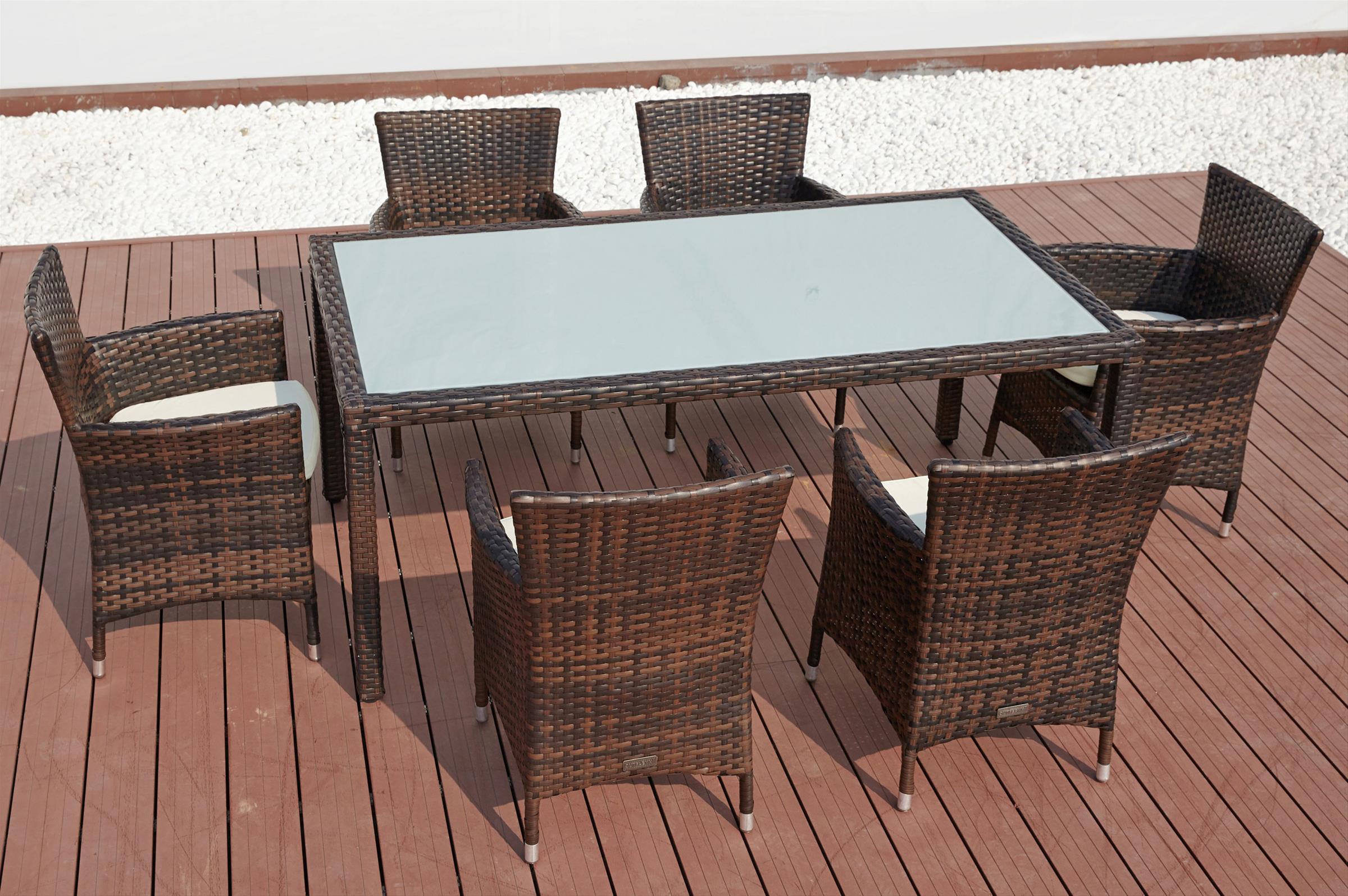 Esstisch Chelsea ~ Gartenmöbel  Esstisch Set Outflexx 7tlg braun marmoriert 180x100x74cm  bei