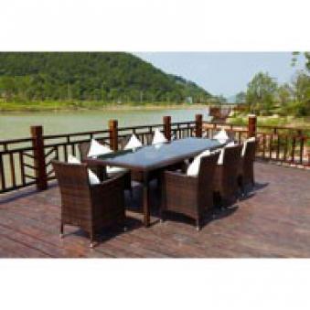 outflexx gartenmöbel polyrattan esstisch und 8 stühle braun, Terrassen ideen