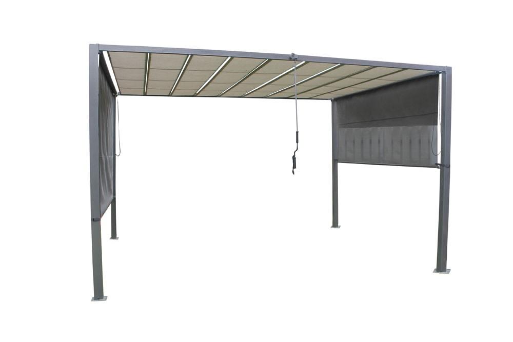 leco pavillon sonnenschutz markise lamellenpergola 370x295cm bei. Black Bedroom Furniture Sets. Home Design Ideas