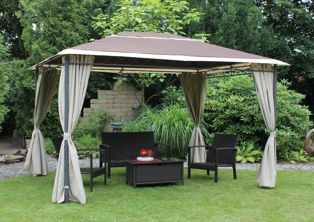 pavillon gartenpavillon leco antik 390x300cm braun natur bei. Black Bedroom Furniture Sets. Home Design Ideas