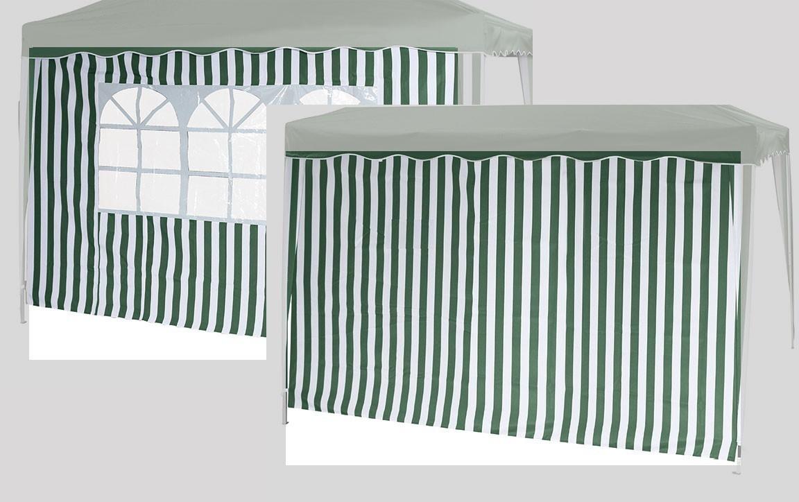 Seitenteile 2er Set für Siena Garden Faltpavillon 3x3m grün-weiß Bild 1