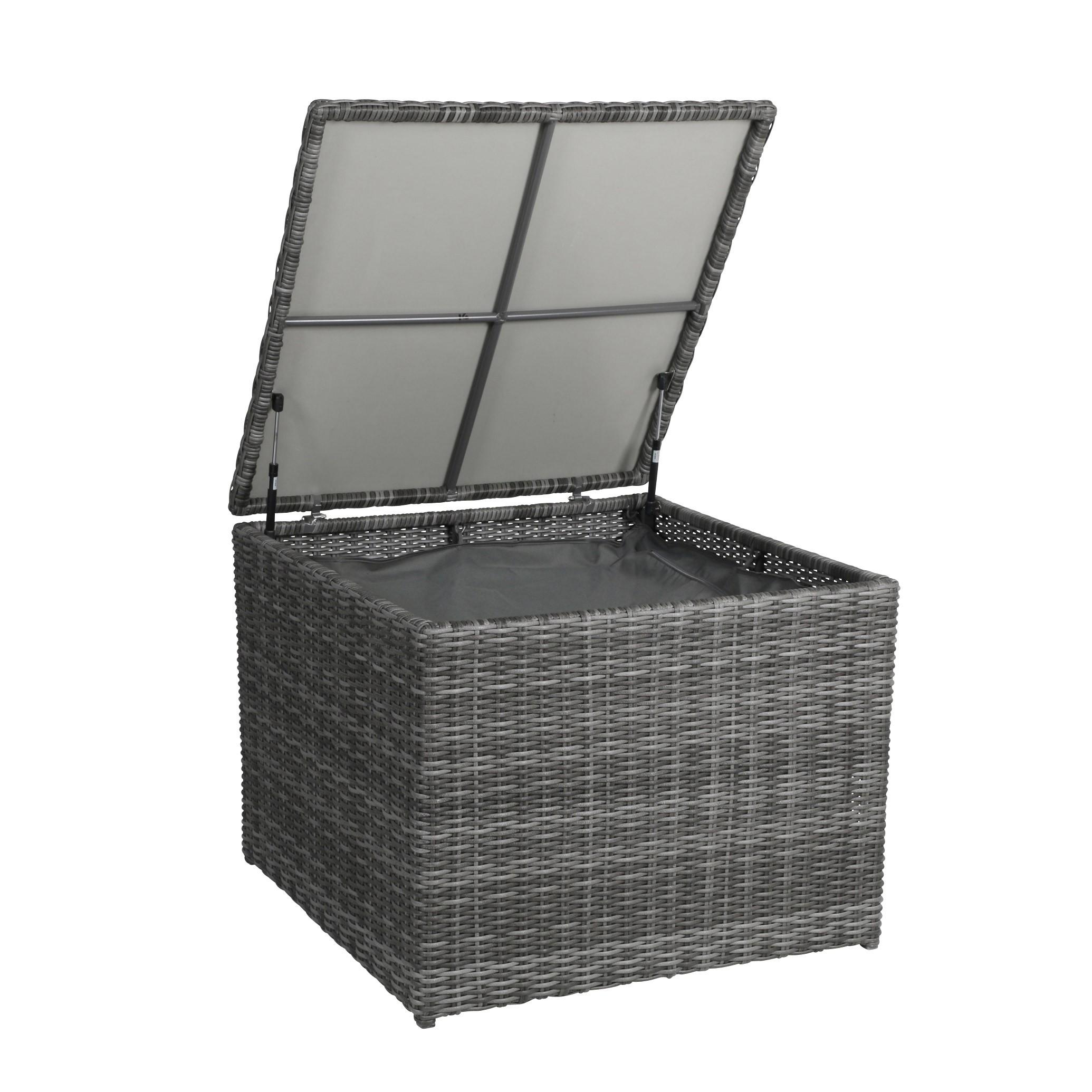 Kissenbox /  Auflagenbox Bari greemotion Polyrattan grau 80x80cm Bild 2