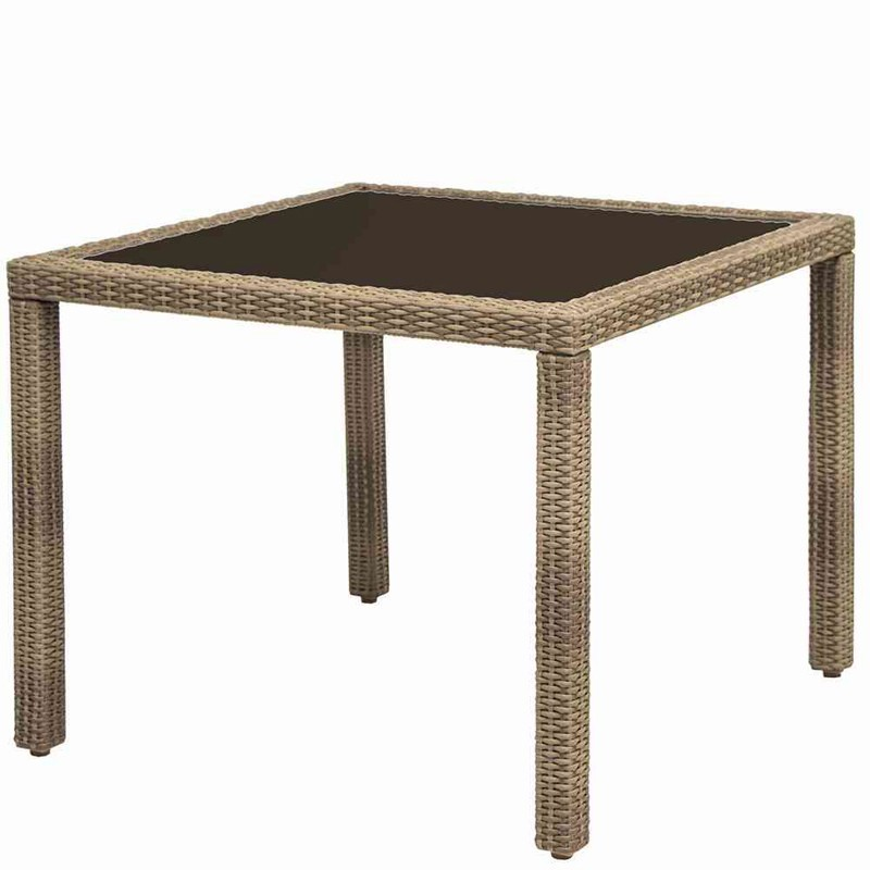 gartentisch bern korbm bel wetterfest mit glasplatte 90x90cm sand bei. Black Bedroom Furniture Sets. Home Design Ideas