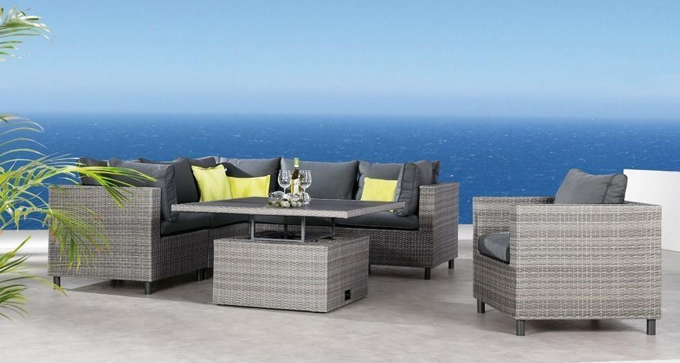 Eckteil groß für Loungemöbel Bonaire Best Polyrattan grau Bild 2