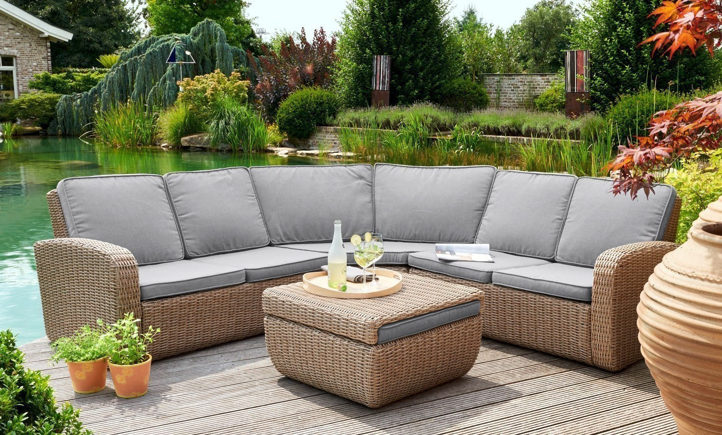 gartenm bel lounge set new york greenmotion polyrattan braun bei. Black Bedroom Furniture Sets. Home Design Ideas