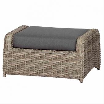 Lounge Hocker/ Gartenhocker Siena Garden Koos Polyrattan braun Bild 1
