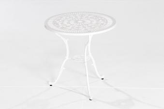 Gartentisch / Balkontisch Lugano Aluguss weiß Ø 70cm Bild 1
