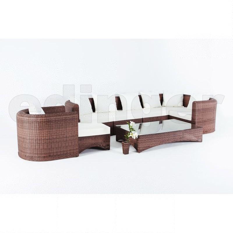 Gartenmobel Set Verona : Outflexx Gartenmöbel Polyrattan Lounge Gruppe 8tlg hellbraun 1318