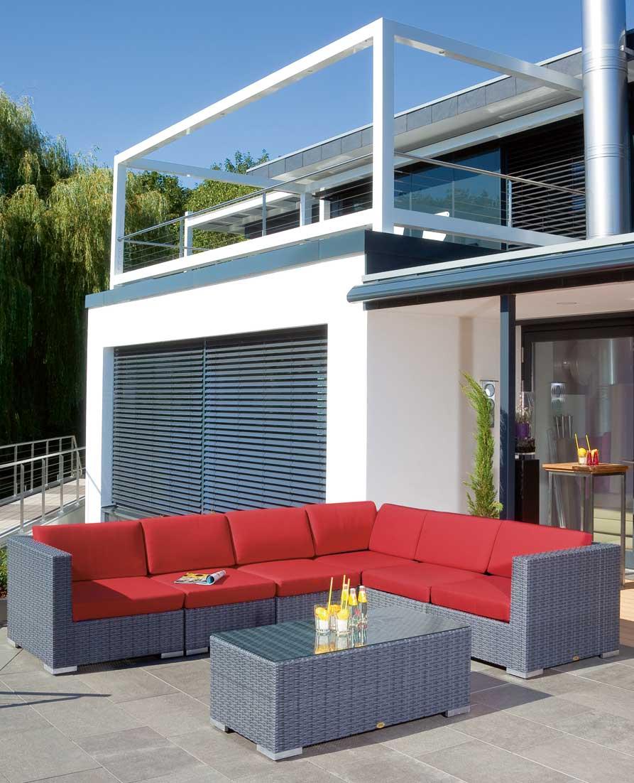 Lounge Möbel Eckmodul für Korbmöbel Residence graphit-schwarz Bild 2