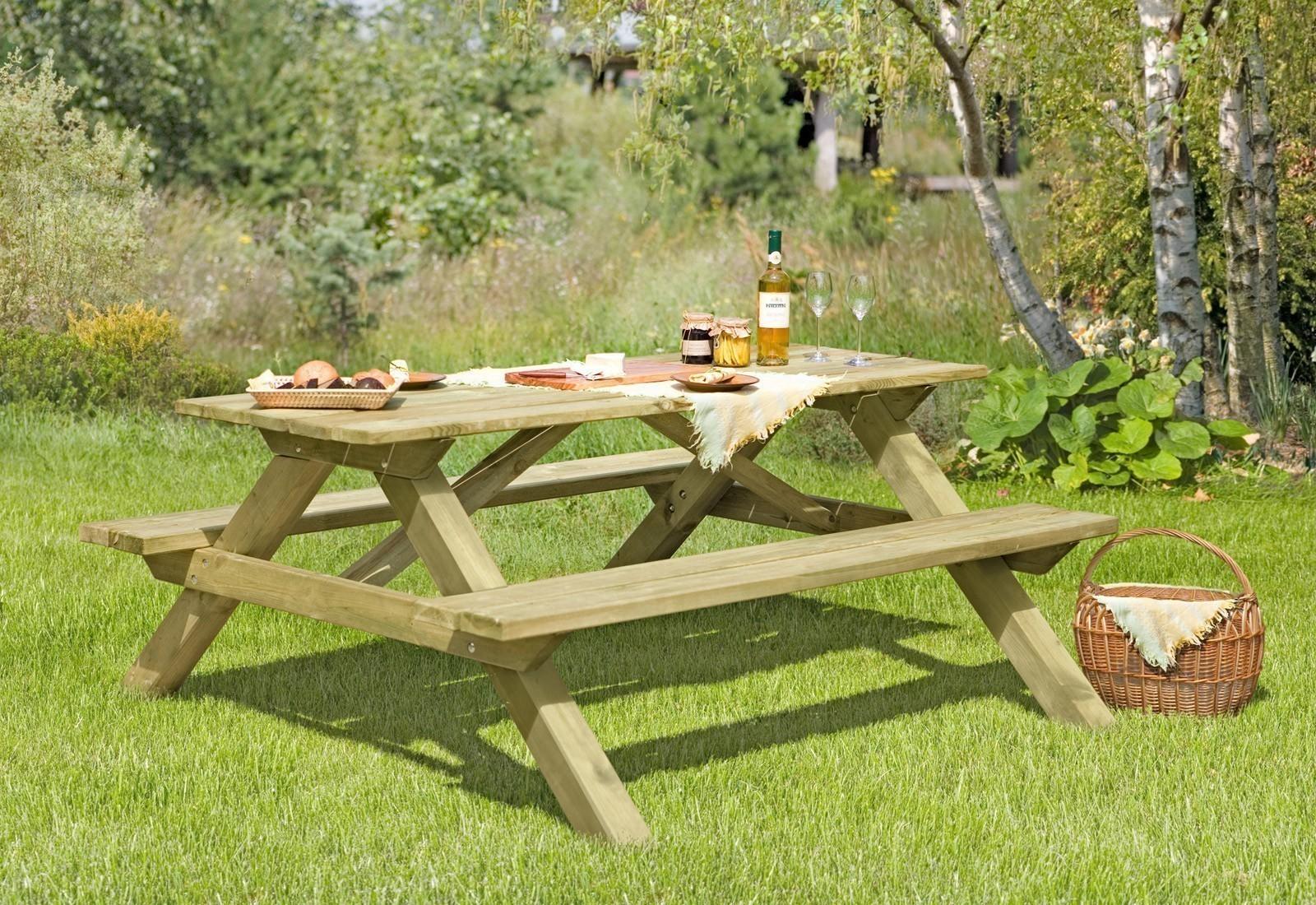 picknicktisch sitzgarnitur holz massiv 180x140x75cm bei. Black Bedroom Furniture Sets. Home Design Ideas