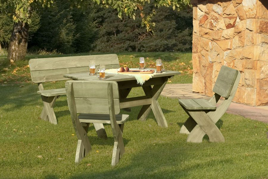 Sitzgruppe Toskana 4-teilig Holz massiv Bild 1