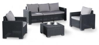 Gartenmöbel / Loungemöbel Set Mombasa 4-teilig Kunststoff graphit grau Bild 1