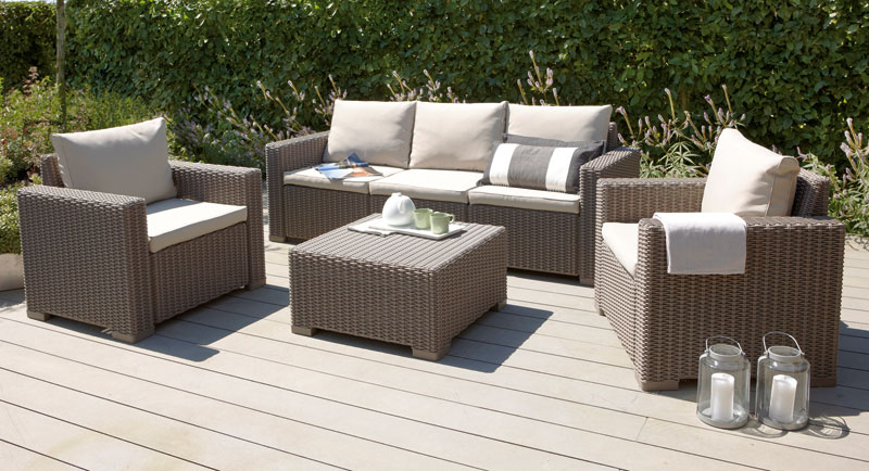 gartenm bel loungem bel set mombasa 4 tlg polyrattan cappuccino sand bei. Black Bedroom Furniture Sets. Home Design Ideas