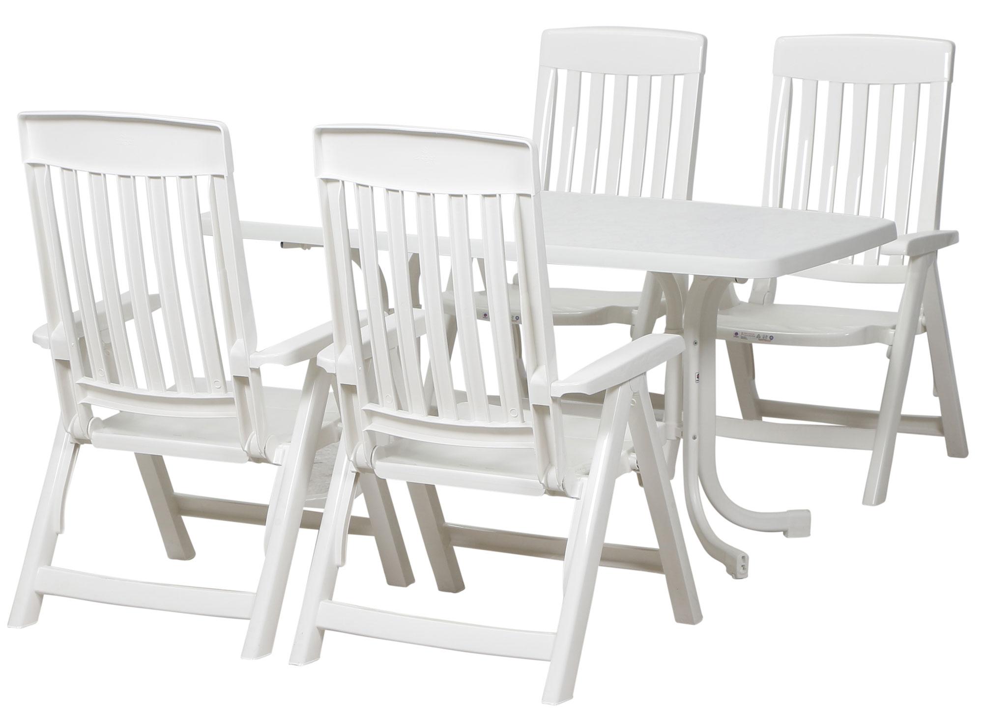 Gartenmöbel Set Palma SIEGER rechteckig Kunststoff / Stahl weiß 5 ...