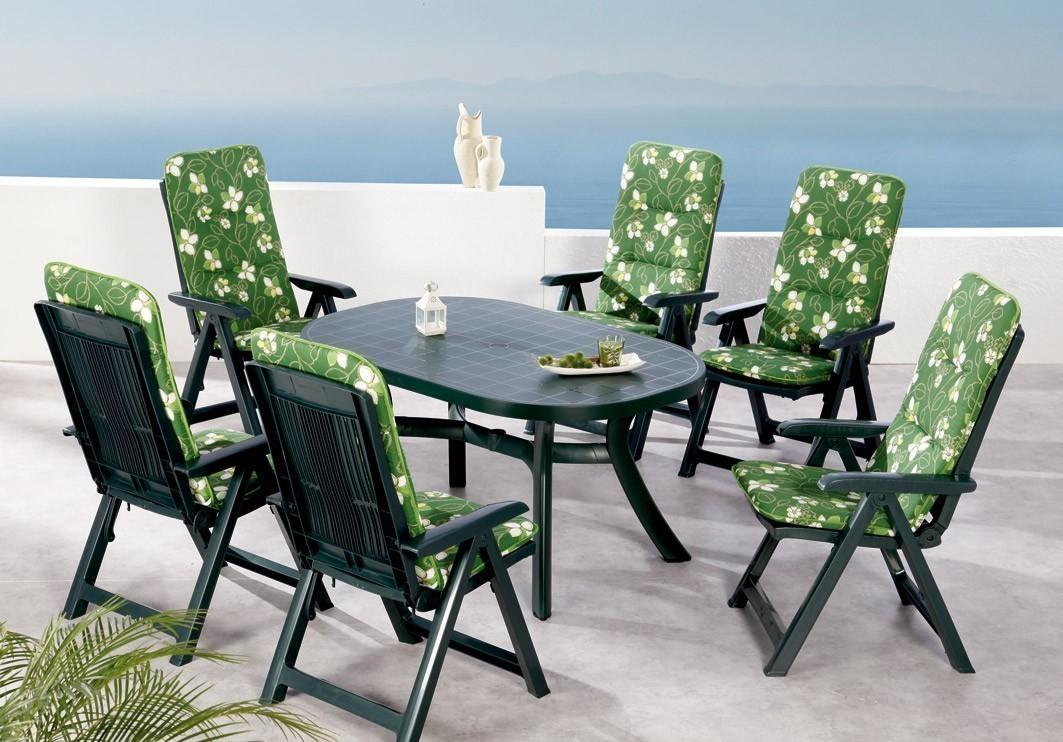 Gartenmöbel Set Santiago Best 13-teilig Kunststoff grün / Polster 1262 Bild 1