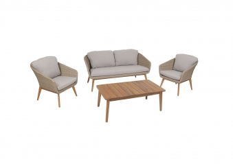 Gartenmöbel / Lounge Möbel Set Greemotion Murcia Polyrattan / Akazie Bild 1