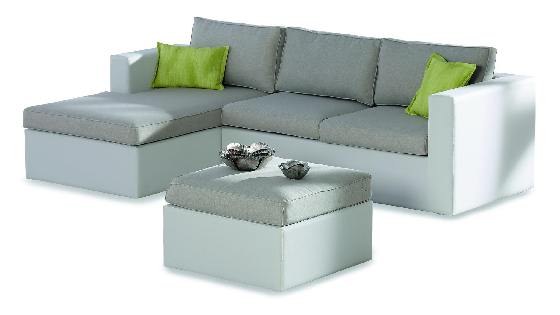 Gartenmöbel günstig 3 teilig  Gartenmöbel / Lounge Möbel Set Kuba 3-teilig Ottomane links weiß ...