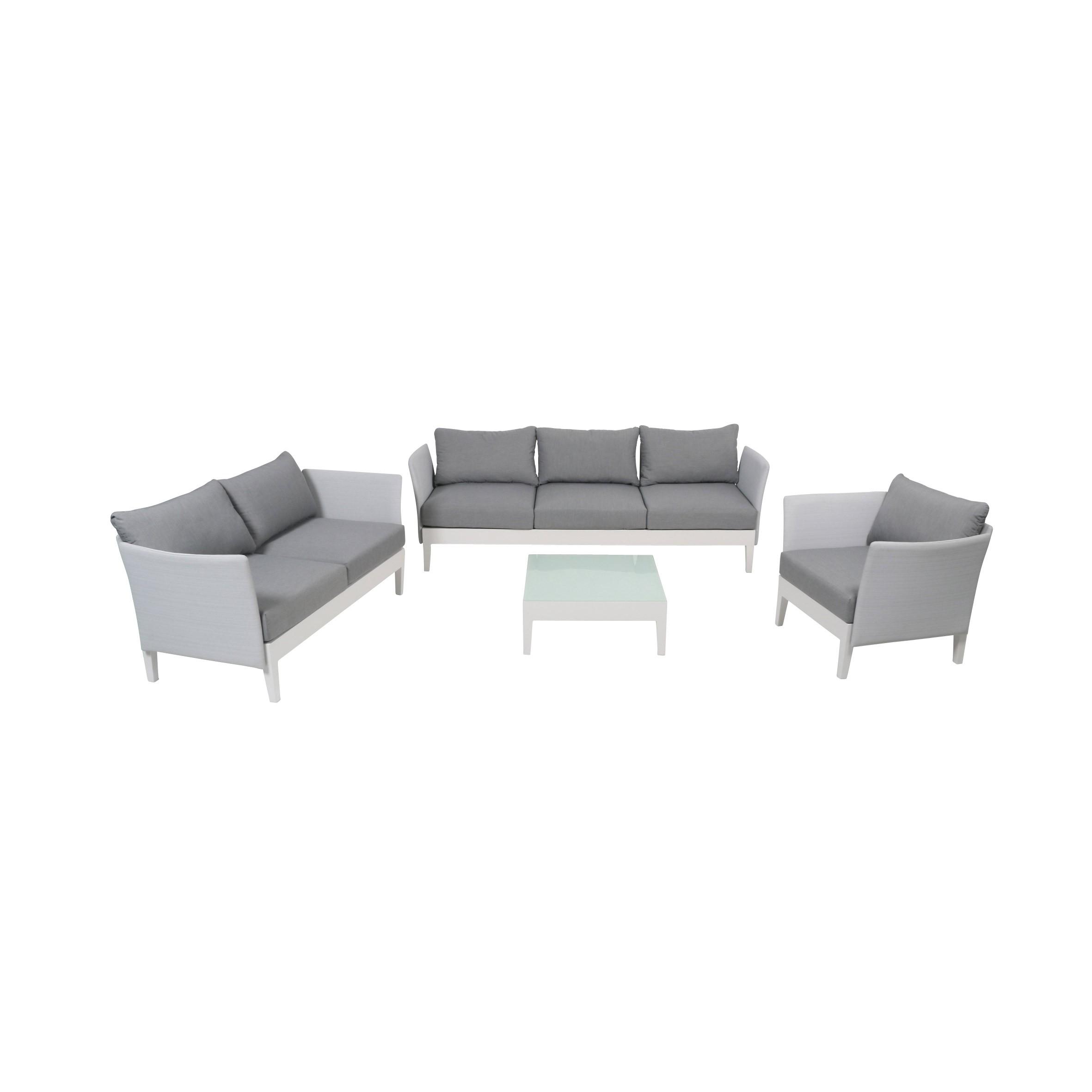 Gartenmöbel / Lounge Möbel Set Testrut Memphis Alu Textilen weiß/grau Bild 1