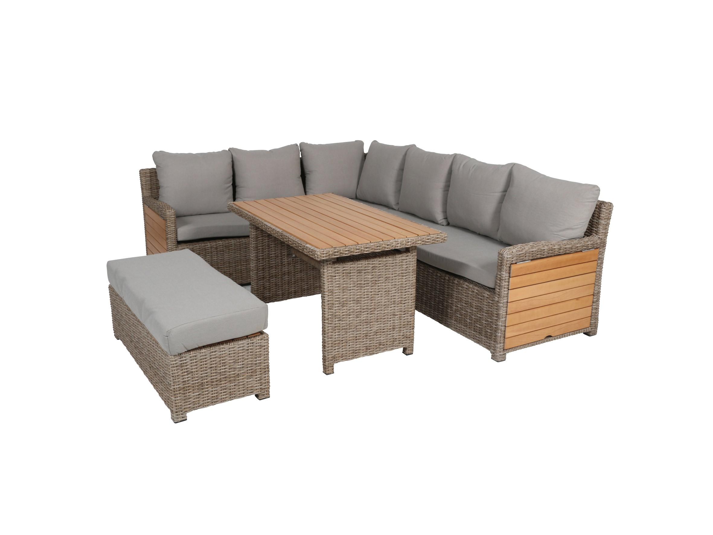 Gartenmobel Lounge Mobel Set Testrut Verona Polyrattan Akazienholz