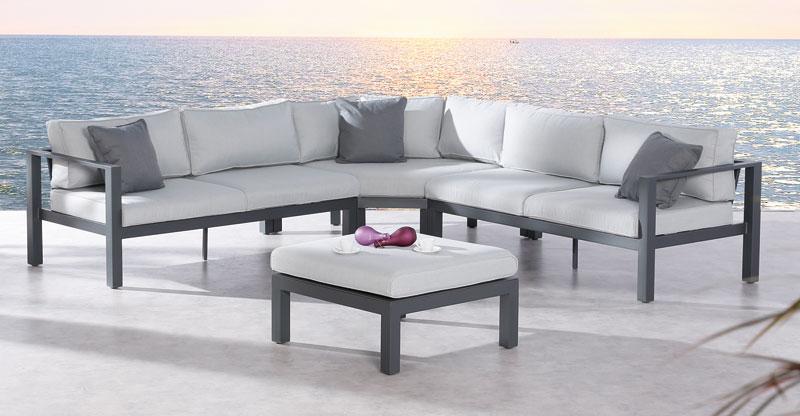Gartenmöbel / Lounge Möbel Set Valencia 4-Teilig Anthrazit / Grau