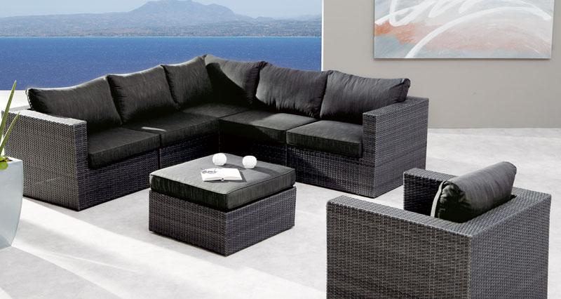 Gartenmöbel / Loungemöbel Set Aruba Best 7-teilig Polyrattan anthrazit Bild 1