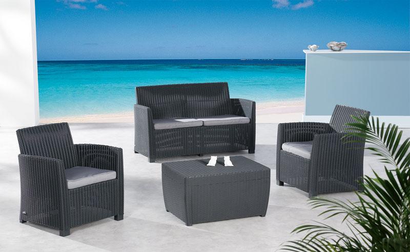 Gartenmobel Kinder Design :   Loungemöbel Set Bali 4teilig Polyrattan graphit grau Bild 1