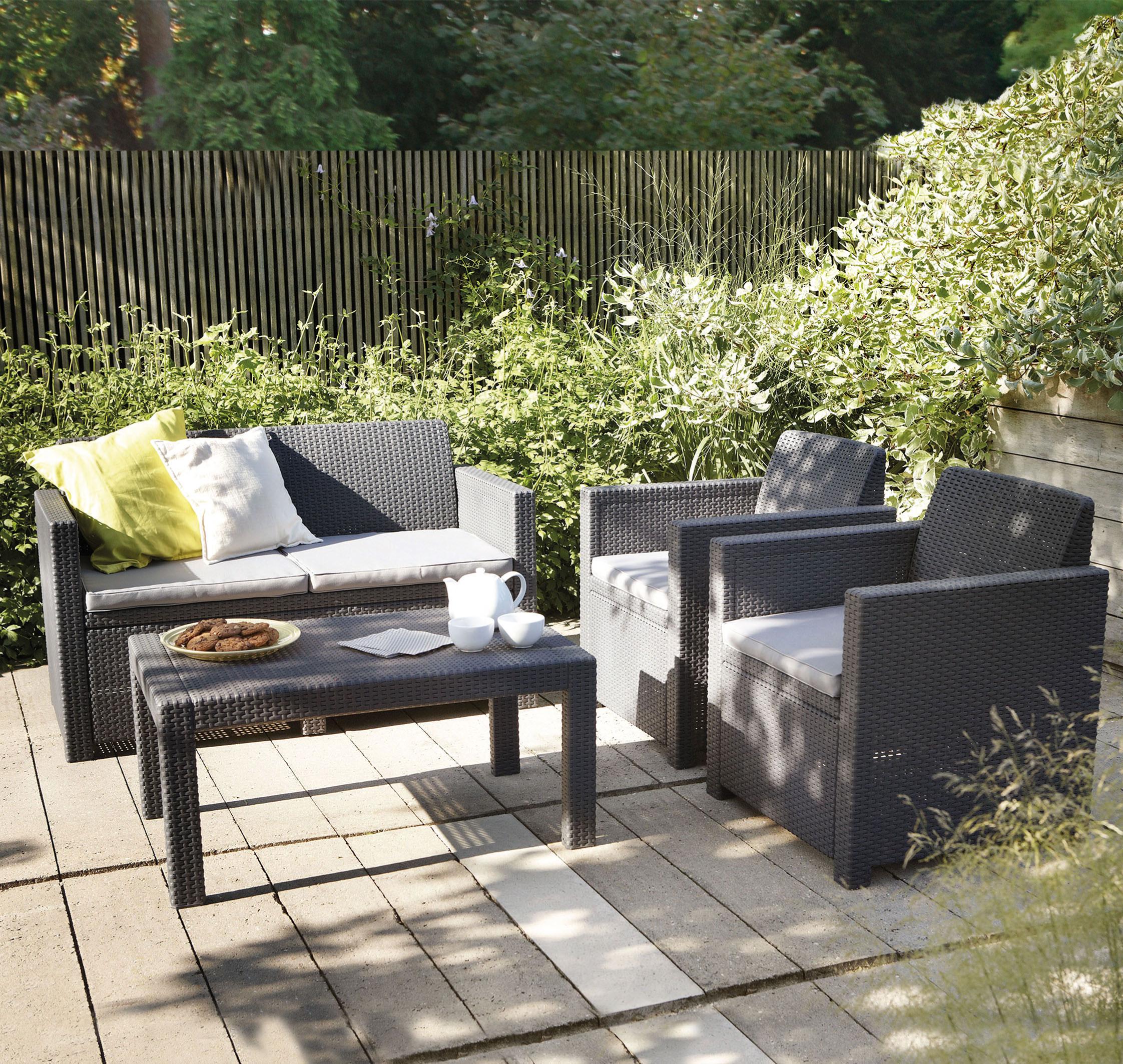 Lounge Set Merano Kunststoff Geflecht-Optik 4-teilig Bild 1