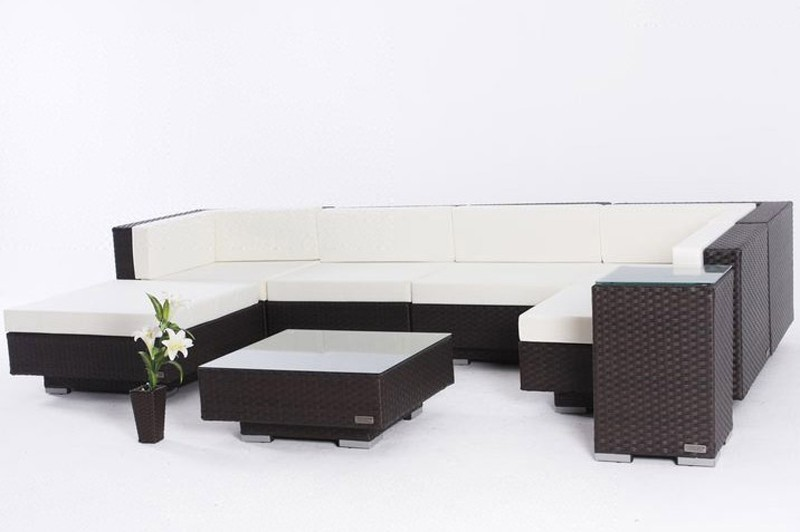 outflexx gartenm bel polyrattan lounge gruppe 8 tlg braun 1305 bei. Black Bedroom Furniture Sets. Home Design Ideas