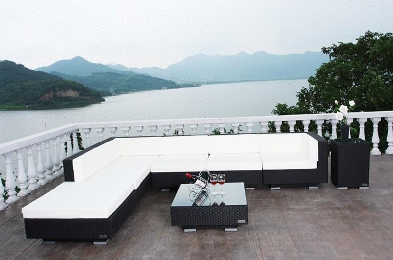 Gartenmobel Set Verona : Outflexx Gartenmöbel Polyrattan Lounge Gruppe 8tlg schwarz 1381 Bild