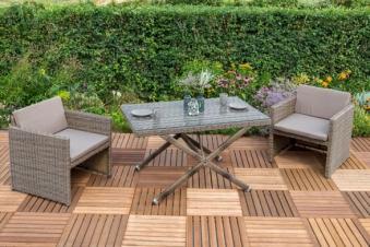 Gartenmöbel / Balkonmöbel Set Avola XXL Polyrattan natur 7-teilig Bild 1