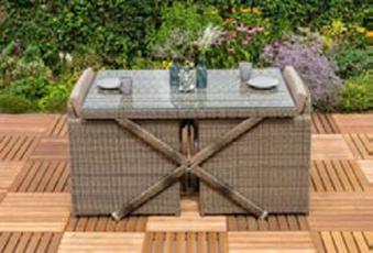 Gartenmöbel / Balkonmöbel Set Avola XXL Polyrattan natur 7-teilig Bild 2