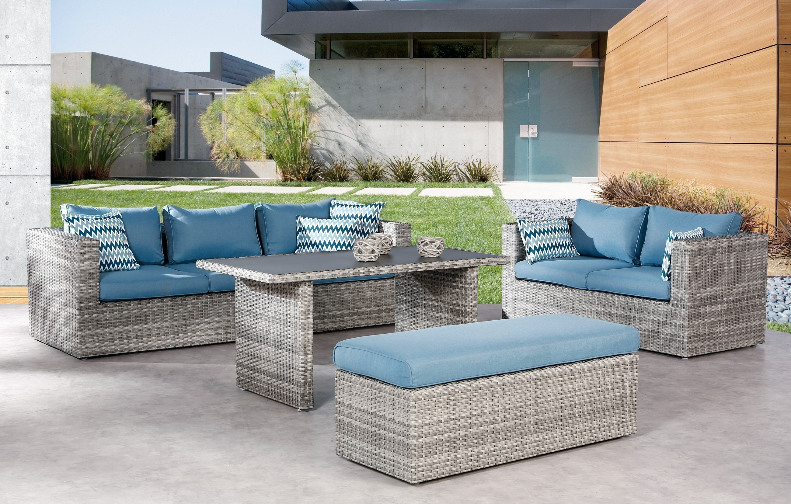 gartenm bel lounge m bel set curacao best polyrattan grau blau bei. Black Bedroom Furniture Sets. Home Design Ideas