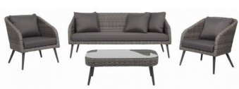Gartenmöbel / Lounge Set acamp Stanley Lounge Polyrattan grau Bild 1