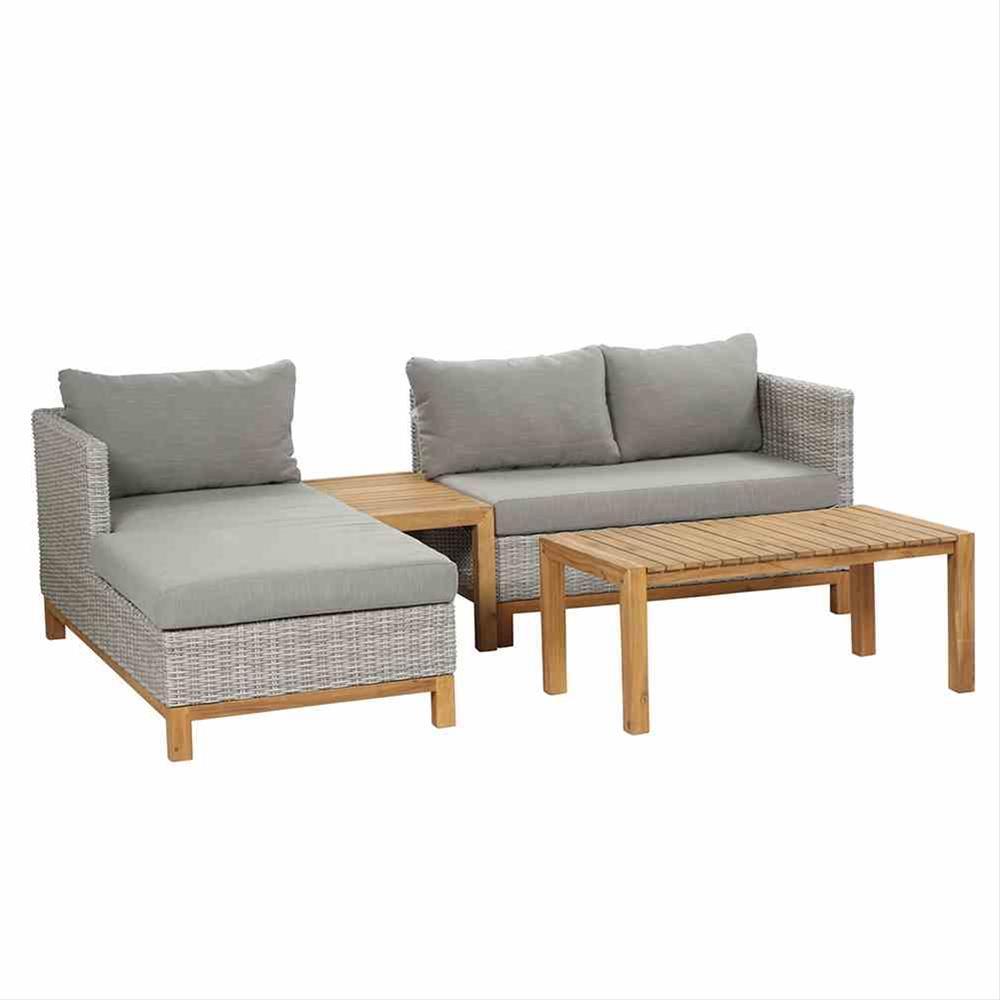 Gartenmöbel Loungemöbel Set Siena Garden Ohio 4tlg Polyrattan grau Bild 1