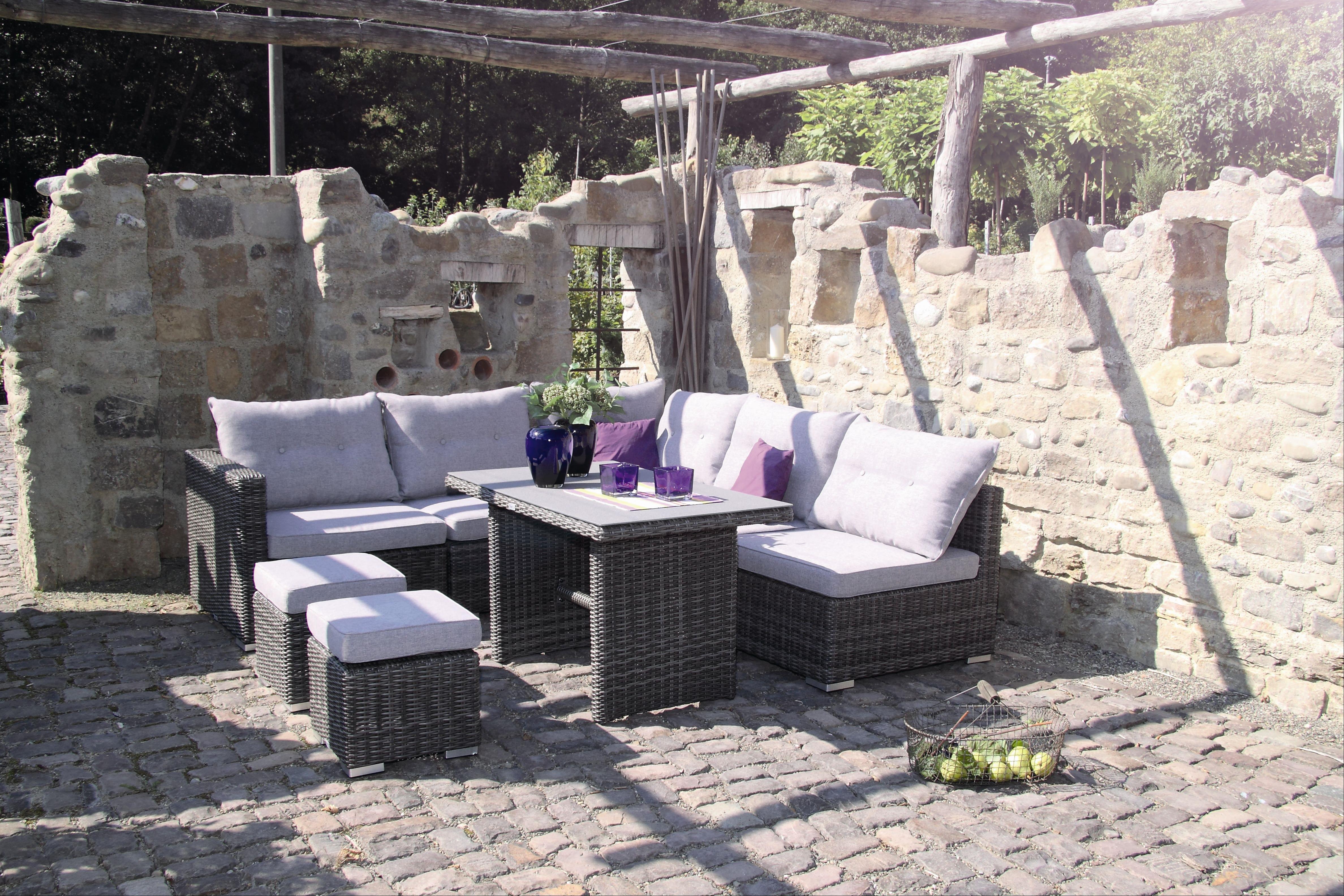 Gartenmöbel / Loungemöbel Set acamp Sicilia 8teilig Polyrattan grau Bild 3