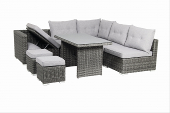 Gartenmöbel / Loungemöbel Set acamp Sicilia 8teilig Polyrattan grau Bild 2