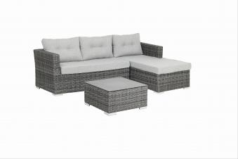 Gartenmöbel / Loungemöbel Set acamp Sicilia 3teilig Polyrattan grau