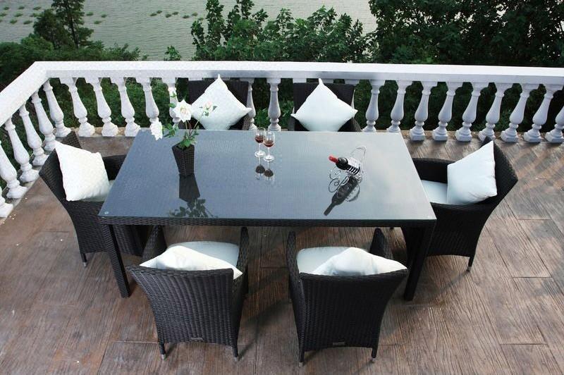 Outflexx Gartenmöbel Polyrattan Esstisch und 6 Stühle schwarz 1283 ...