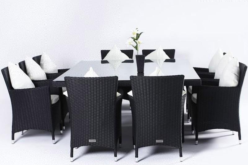 Outflexx Gartenmöbel Polyrattan Esstisch und 10 Stühle schwarz 1724