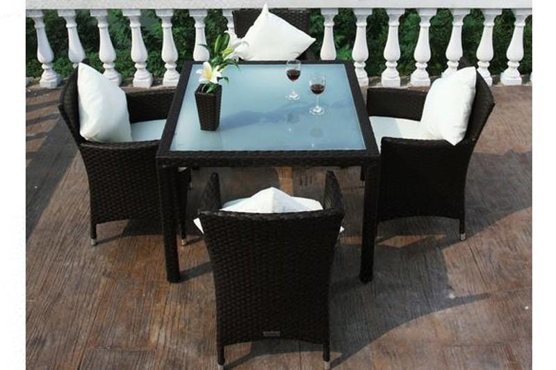 Gartenmobel Set Verona : Outflexx Gartenmöbel Polyrattan Esstisch und 4 Stühle braun 1293