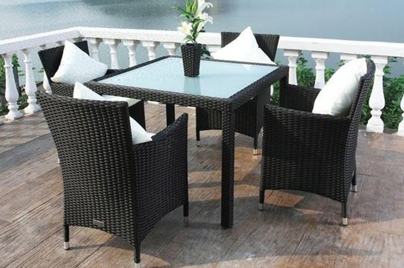 Gartenmobel Polyrattan Ausverkauf : Outflexx Gartenmöbel Polyrattan Esstisch und 4 Stühle schwarz 1292
