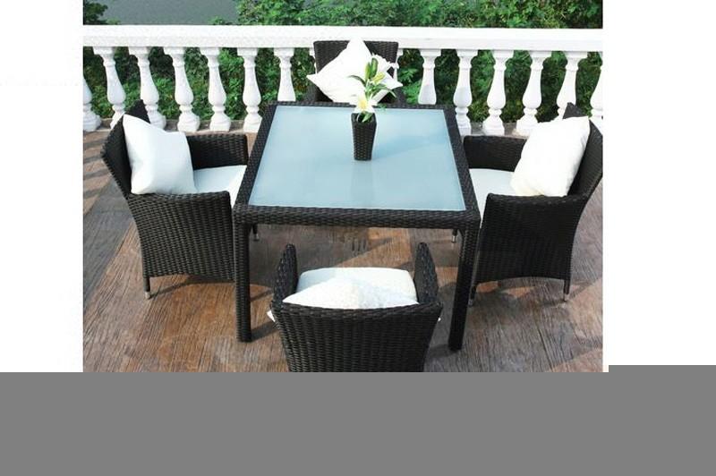 Outflexx Gartenmöbel Polyrattan Esstisch und 4 Stühle schwarz 1292