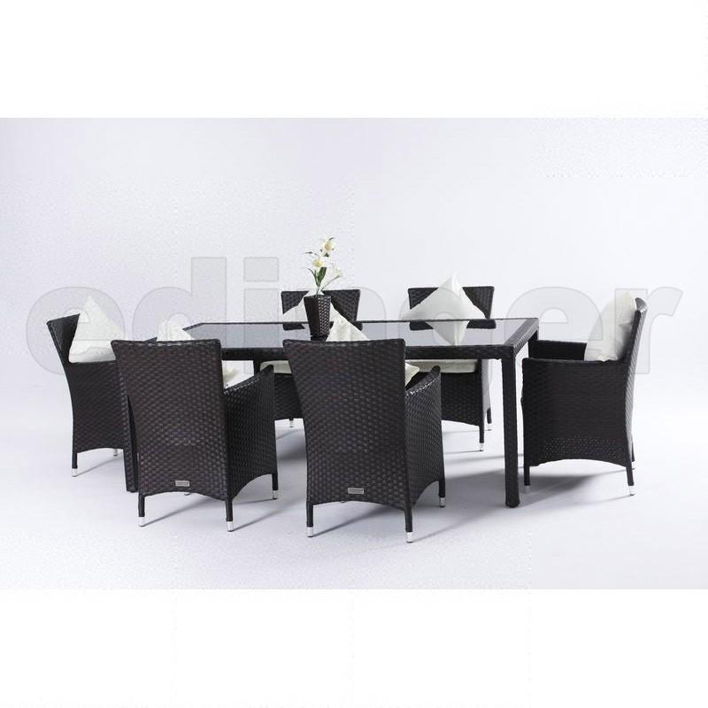 Outflexx Gartenmöbel Polyrattan Esstisch und 6 Stühle braun 1282