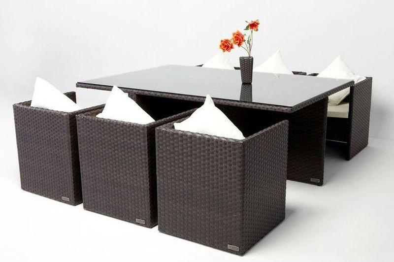 Gartenmobel Set Verona : Outflexx Gartenmöbel Polyrattan Esstisch und 6 Stühle braun 2512