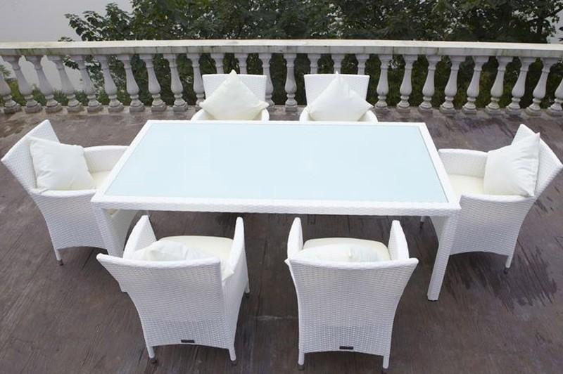 Esstisch Rattan Weiß ~ Outflexx Gartenmöbel Polyrattan Esstisch und 6 Stühle weiß 2402  bei edinger