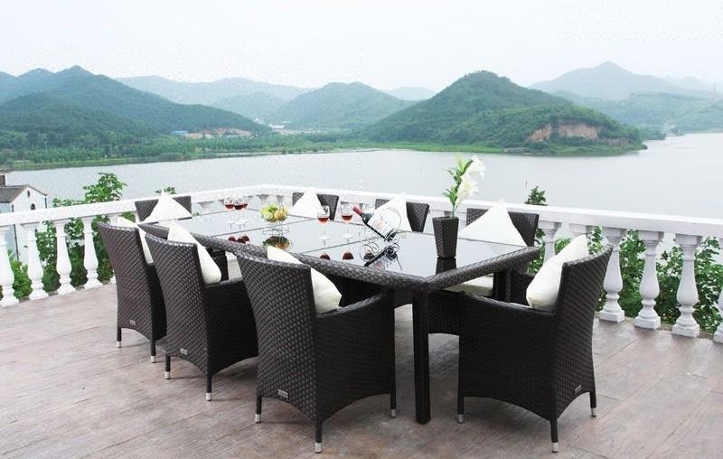 Bequeme Balkonmobel Fur Kleinen Balkon : Outflexx Gartenmöbel Polyrattan Esstisch und 8 Stühle braun 1287