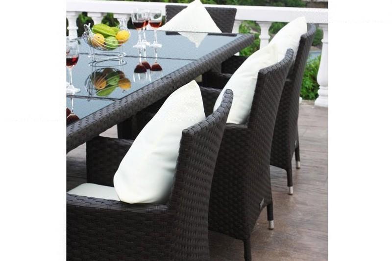 Outflexx Gartenmöbel Polyrattan Esstisch und 8 Stühle braun 1287  => Gartenmobel Polyrattan Hersteller